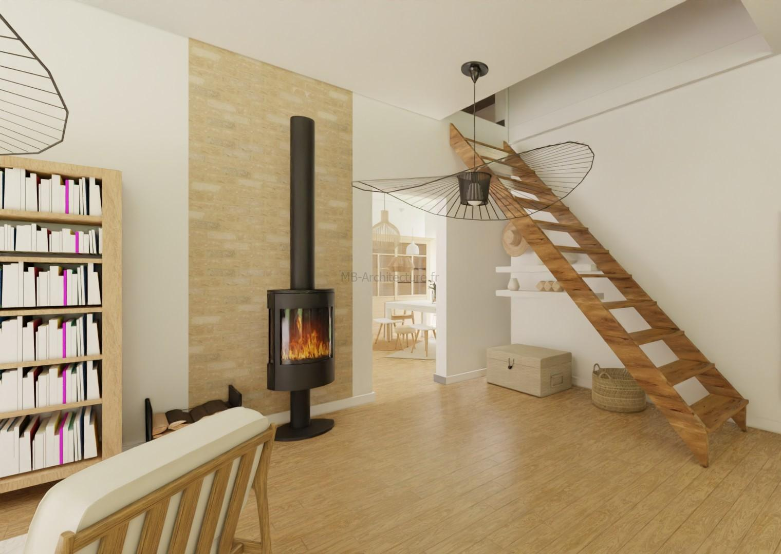salon escalier bois
