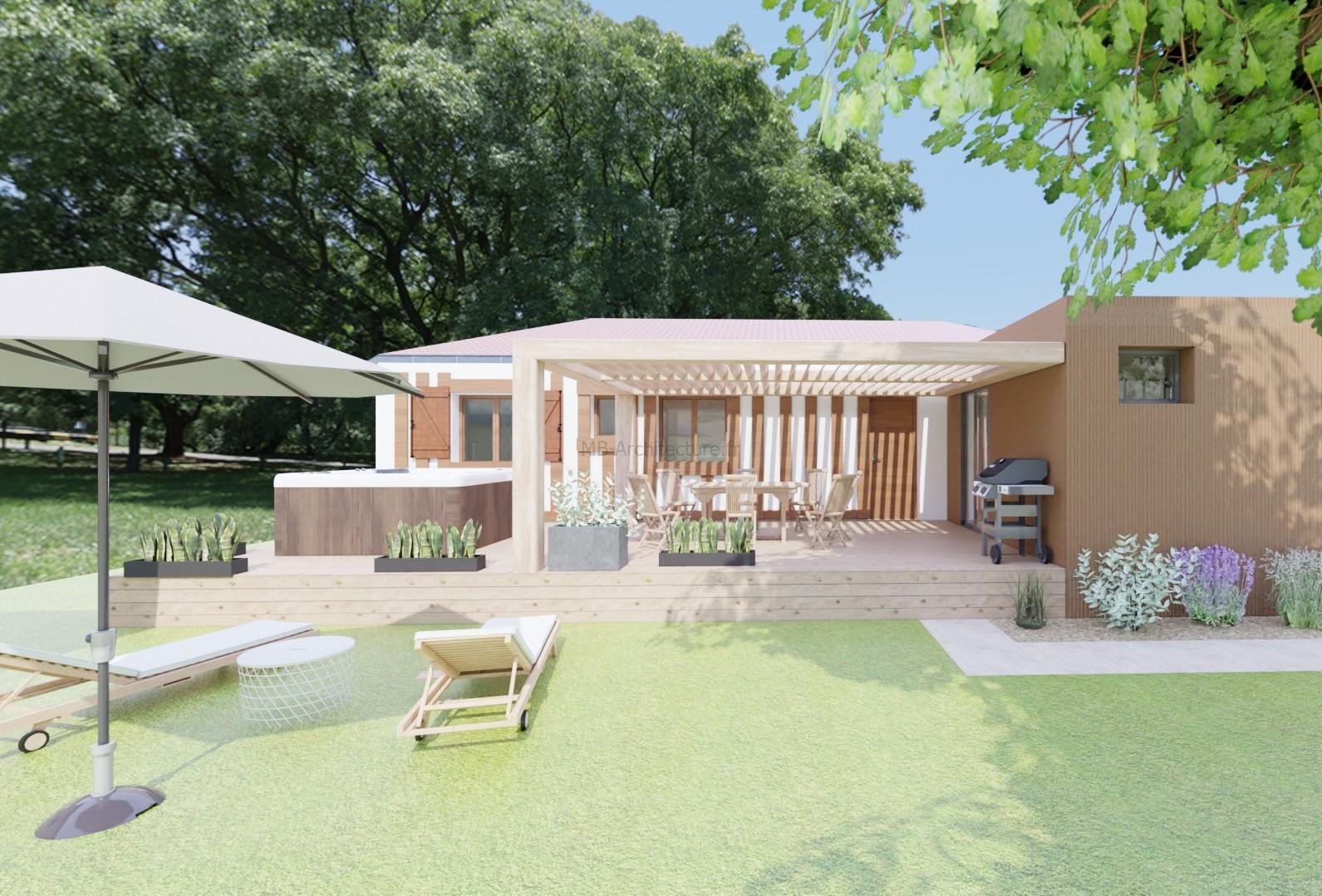 maison landaise avec extension bois