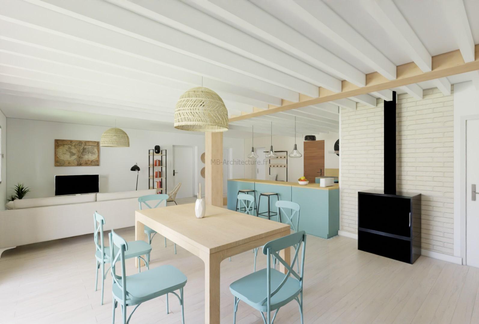 salle à manger bleu maison de vacance